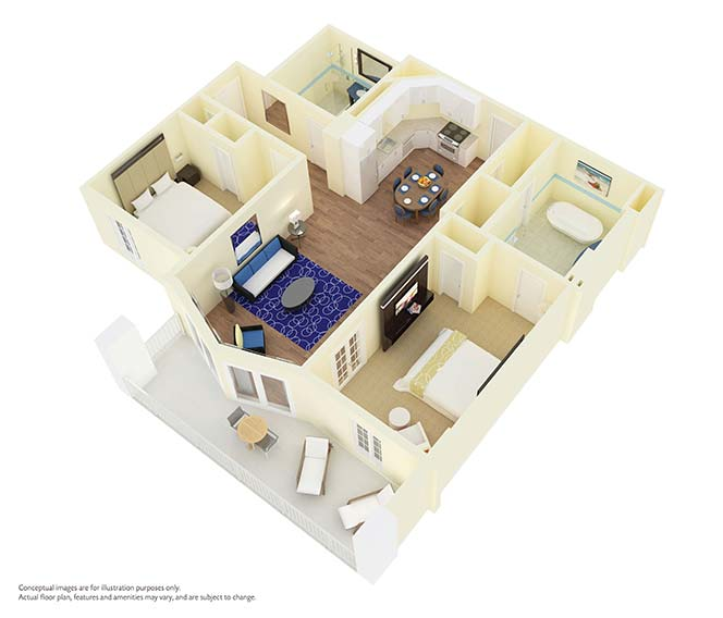 Two Bedroom Floor Plan For Parc Soleil Hotel By Hilton Grand Vacations Club  In Orlando,